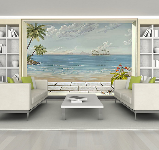 D cor paysage en trompe l oeil pour agrandir les pi ces - Decoration murale avec papier peint ...